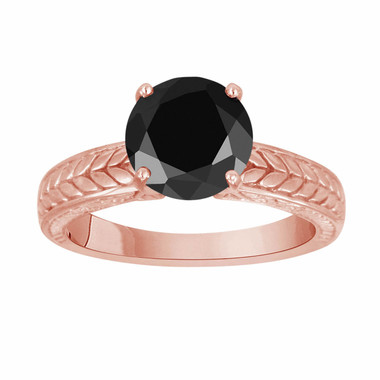 Fancy Black Diamond Solitaire Engagement Ring Antique Vintage Style Engraved 14k Rose Gold 1.05 Carat HandMade