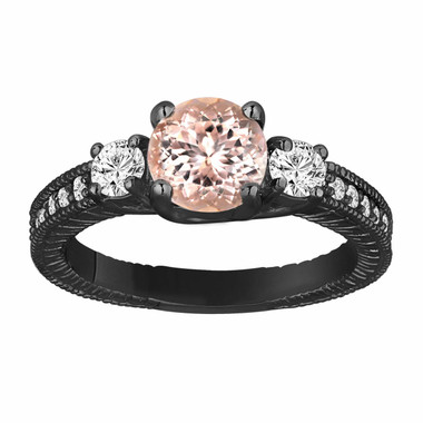 Morganite & Diamond Three Stone Engagement Ring 1.28 Carat Vintage Style 14K Black Gold Antique Style Engraved Handmade