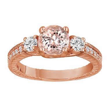 Morganite & Diamond Three Stone Engagement Ring 1.28 Carat 14K Rose Gold Vintage Antique Style Engraved Handmade