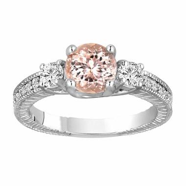 Morganite & Diamond Three Stone Engagement Ring 1.28 Carat 14K White Gold Vintage Antique Style Engraved Handmade