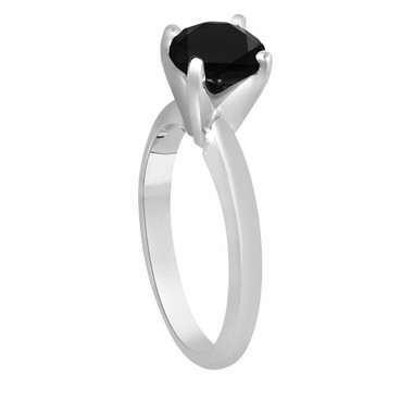 Platinum Black Diamond Solitaire Engagement Ring 1.05 Carat Certified handmade