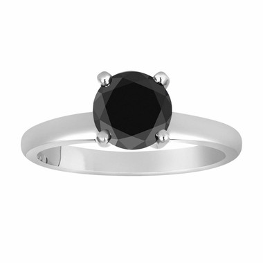 Fancy Black Diamond Solitaire Engagement Ring 14k White Gold 1.05 Carat Certified handmade