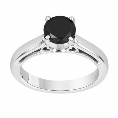 Fancy Black Diamond Solitaire Engagement Ring 14k White Gold 1.07 Carat Heart Designs handmade