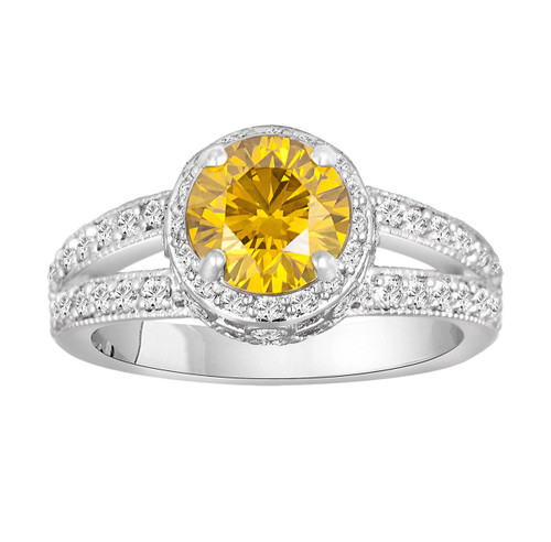 Canary Yellow Diamond Engagement Ring 1.77 Carat 14K White Gold Pave Set handmade Certified