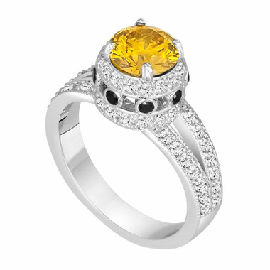Unique Fancy Yellow  Diamond Engagement Ring  14K White Gold 1.77 Carat Pave Set handmade Certified