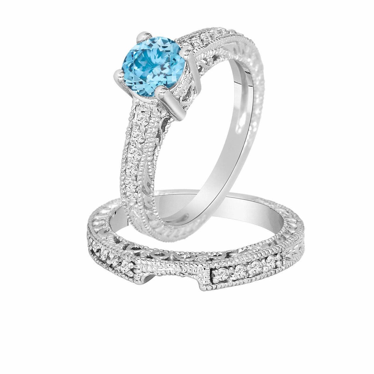 Blue Topaz Engagement Ring Set Wedding Ring Sets Vintage