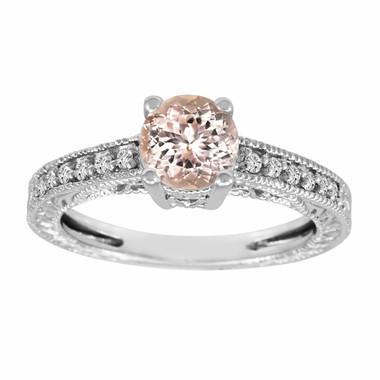 Morganite & Diamond Engagement Ring 14K White Gold 0.87 Carat Pave Set Birthstone Vintage Antique Style Engraved Handmade