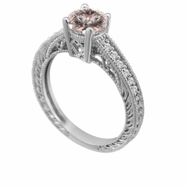 Morganite & Diamond Engagement Ring 14K White Gold 0.62 Carat Pave Set Birthstone Vintage Antique Style Engraved Handmade
