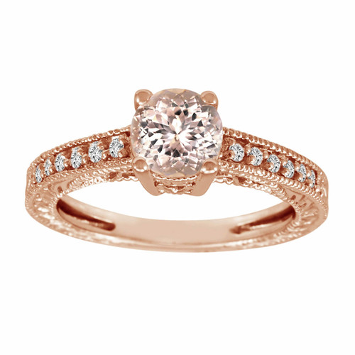 Morganite & Diamond Engagement Ring 14K Rose Gold 0.62 Carat Pave Set Birthstone Vintage Antique Style Engraved Handmade