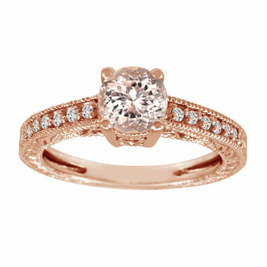Morganite & Diamond Engagement Ring 14K Rose Gold 0.87 Carat Pave Set Birthstone Vintage Antique Style Engraved Handmade