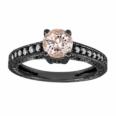 Morganite & Diamond Engagement Ring Vintage Style 14K Black Gold 0.87 Carat Pave Set Birthstone Antique Style Engraved Handmade