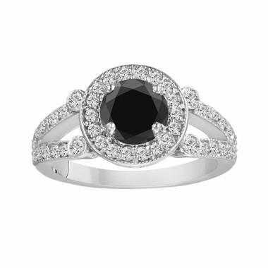 Black & White Diamond Engagement Ring 1.58 Carat Certified 14k White Gold Halo HandMade