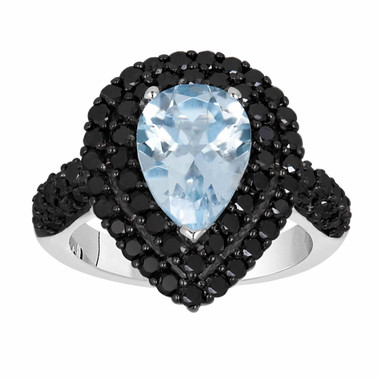 Pear Shape Aquamarine & Fancy Black Diamond Engagement Ring 3.08 Carat 14k White Gold Unique HandMade Certified Birthstone