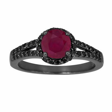 Ruby & Black Diamond Engagement Ring Vintage Style 14k Black Gold 1.03 Carat Bridal Unique Halo HandMade Birth Stone