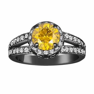 Fancy Yellow & White And Fancy Black Diamond Engagement Ring Vintage Style 14K Black Gold Unique 1.77 Carat Pave Set handmade Certified