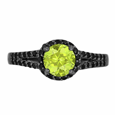 Peridot & Black Diamond Engagement Ring Vintage Style 14k Black Gold 1.40 Carat Unique Halo HandMade Birth Stone