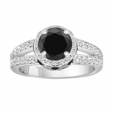 1.79 Carat Certified Natural Black Diamond Engagement Ring 14K White Gold Pave Set handmade