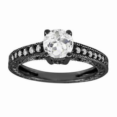 1.00 Carat White Topaz & Diamonds Engagement Ring 14K Black Gold Vintage Style handmade