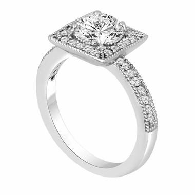 Platinum Diamond Engagement Ring 1.33 Carat Halo Handmade Certified