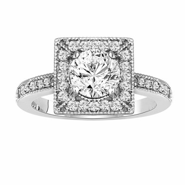 Diamond Engagement Ring 1.33 Carat 14K White Gold Halo Handmade Certified