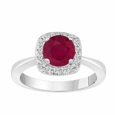 Ruby & Diamonds Engagement Ring 1.23 Carat 14K White Gold Halo Pave Certified Bridal Ring