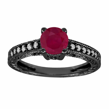 Ruby & Diamonds Engagement Ring Vintage Style 14k Black Gold Certified 0.74 Carat HandMade Antique Style Engraved