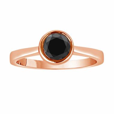 14K Rose Gold Fancy Black Diamond Solitaire Engagement Ring 0.55 Carat handmade Bezel Set