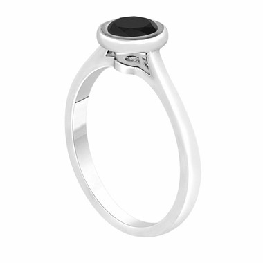 Platinum Fancy Black Diamond Solitaire Engagement Ring 0.55 Carat Handmade Bezel Set