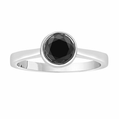 14K White Gold Fancy Black Diamond Solitaire Engagement Ring 0.55 Carat handmade Bezel Set