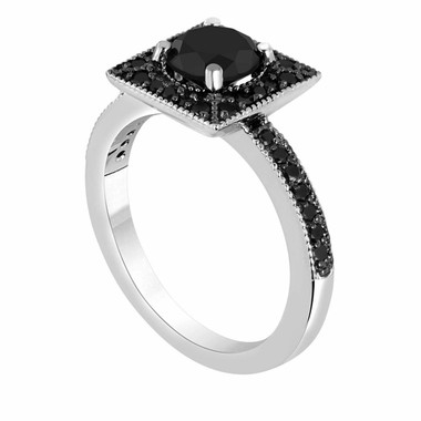 Fancy Black Diamond Engagement Ring 1.42 Carat 14K White Gold Halo Handmade