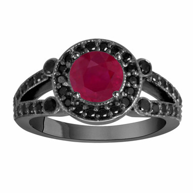 Ruby & Black Diamond Engagement Ring Vintage Style 14k Black Gold 1.80 Carat Unique Halo HandMade