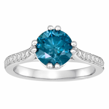 1.83 Carat Blue Diamond Engagement Ring 14K White Gold Certified Unique HandMade Ring Pave Set