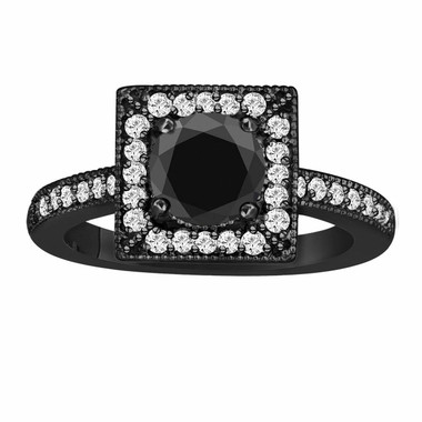 Fancy Black & White Diamond Engagement Ring 1.40 Carat Vintage Style 14K Black Gold Halo Handmade