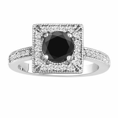 Fancy Black & White Diamond Engagement Ring 1.40 Carat 14K White Gold Halo Handmade