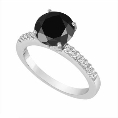 Fancy Black & White Diamond Engagement Ring 14K White Gold 1.24 Carat HandMade