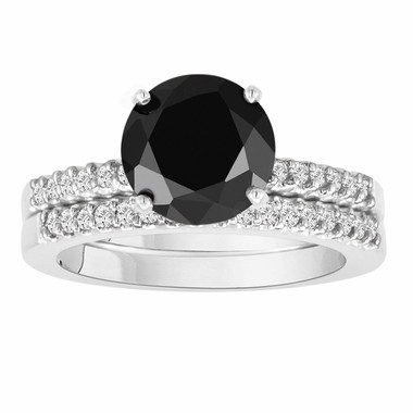 Fancy Black Diamond Engagement Ring And Wedding Anniversary Band Sets 14K White Gold 1.45 Carat HandMade