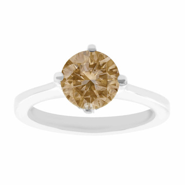 Natural Champagne Brown Diamond Solitaire Engagement Ring 1.01 Carat Certified 14K White Gold Gallery Design Ring