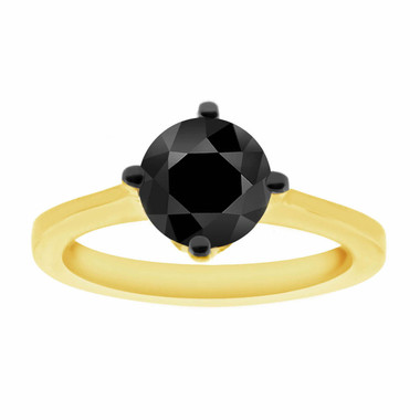 Fancy Black Diamond Solitaire Engagement Ring 14K Yellow Gold 1.04 Carat Gallery Design Ring handmade