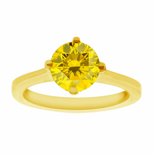 Fancy Canary Yellow Diamond Solitaire Engagement Ring 14K Yellow Gold 1.01 Carat Certified Gallery Design Ring