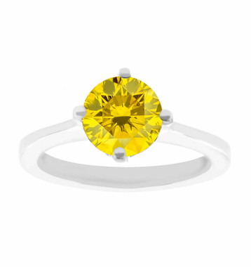 VS2 1.01 Carat Yellow Diamond Solitaire Engagement Ring Certified 14K White Gold Gallery Design Ring