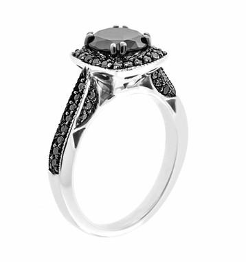 Fancy Black Diamond Engagement Ring 14K White Gold 1.50 Carat Certified Pave Set HandMade