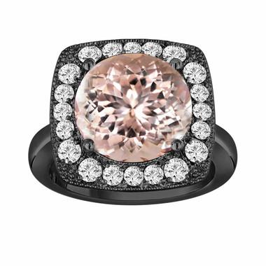 Peach Morganite & Diamond Engagement Ring 5.56 Carat Vintage Style 14k Black Gold Huge Unique Design Halo Ring handmade