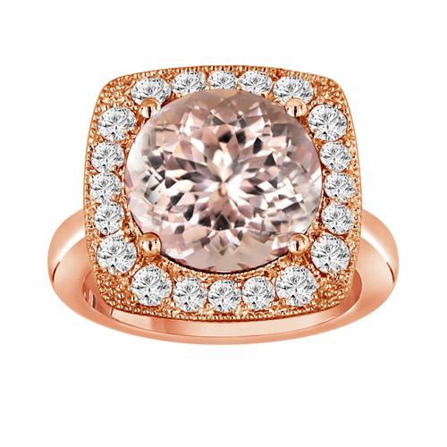 Peach Morganite & Diamond Engagement Ring 5.56 Carat 14k Rose Gold Huge Unique Design Halo Ring handmade