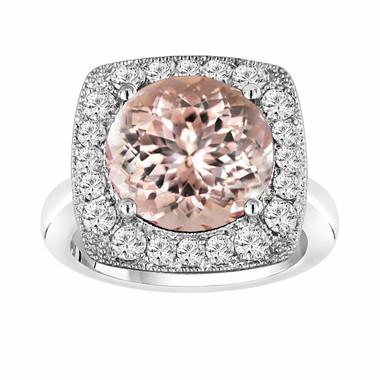 Peach Morganite & Diamond Engagement Ring 5.56 Carat 14k White Gold Huge Unique Design Halo Ring handmade