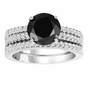 Natural Black Diamond Engagement Ring And Two Wedding Band Sets 14K White Gold 2.62 Carat HandMade