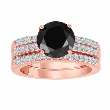 Black Diamond Engagement Ring And Two Wedding Band Sets 14K Rose Gold 2.62 Carat HandMade