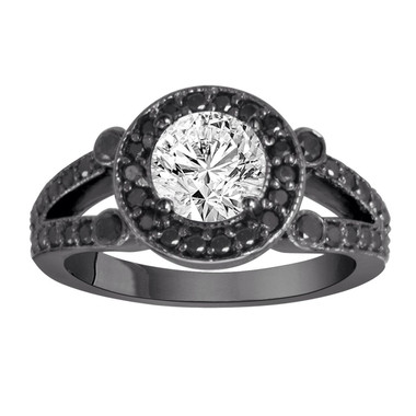 Fancy Black and White Diamonds Engagement Ring Engagement Ring Vintage Style 14k Black Gold 1.52 Carat Certified Unique Halo Pave Handmade