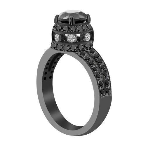 2.00 Carat Fancy Black Diamond Engagement Ring Vintage Style 14K Black Gold Certified Pave Set handmade