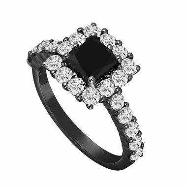 Vintage Style 14K Black Gold 2.29 Carat Princess Cut Black & White Diamond Engagement Ring handmade
