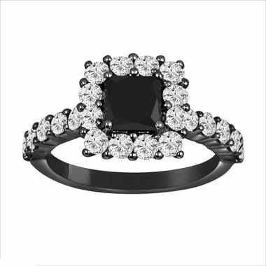 Princess Cut Fancy Black & White Diamond Engagement Ring Vintage Style 14K Black Gold 2.32 Carat handmade